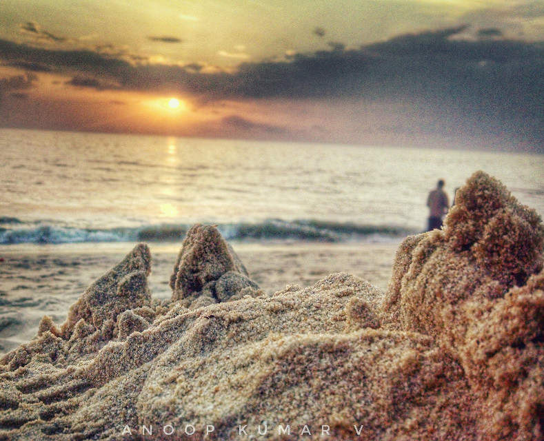 On the shore there was a small mountain, A mountain made of sands.... Destined to be leveled by a footstep, Or to be washed off by the waves....   Camera- Motorola Moto X  #sand #beach #mararibeach #mararikulam #kerala #india  #closeup #phonography #smartphone #motorola #motox #nature #sunset #seashore