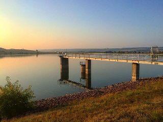 sunrise lake bridge nature