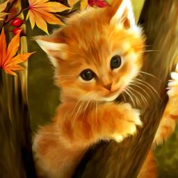 wapautumnvibes autumnvibes oilpaintingeffect cat autumnleaves