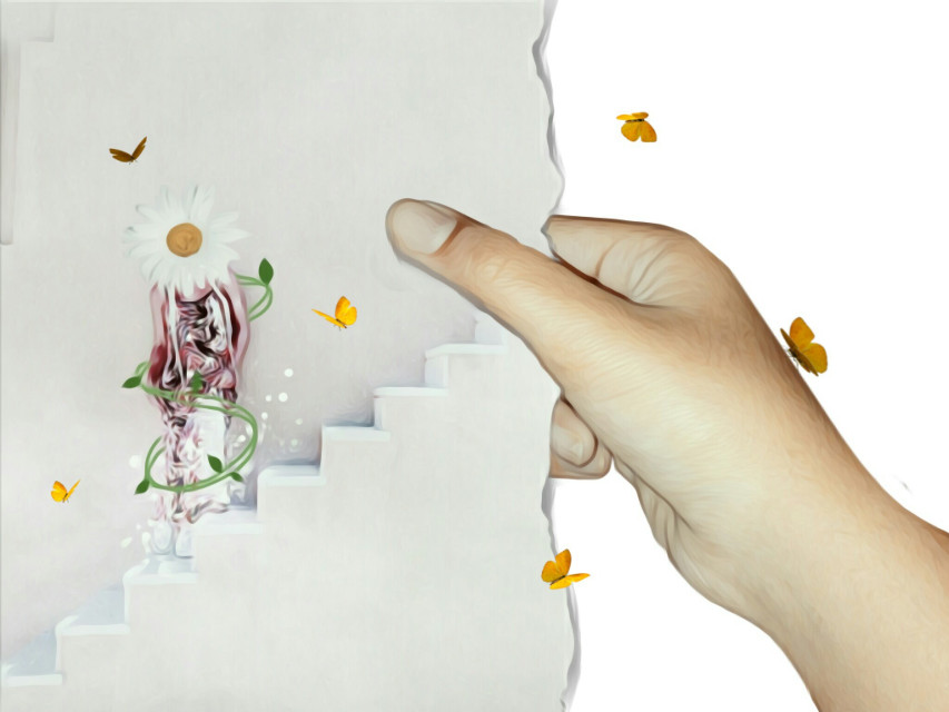 #FreeToEdit #hand #butterfly #remix