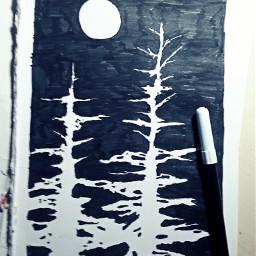 moon drawing trees wood blackandwhite